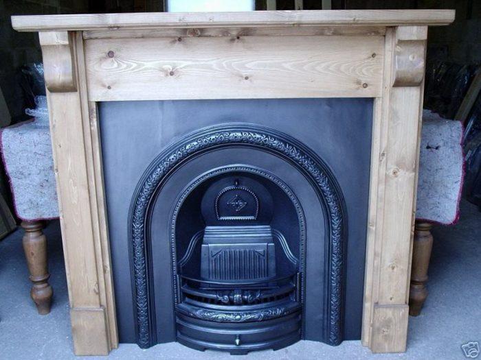 Lytton Black Fireplace with Pine Corbel Mantel-0