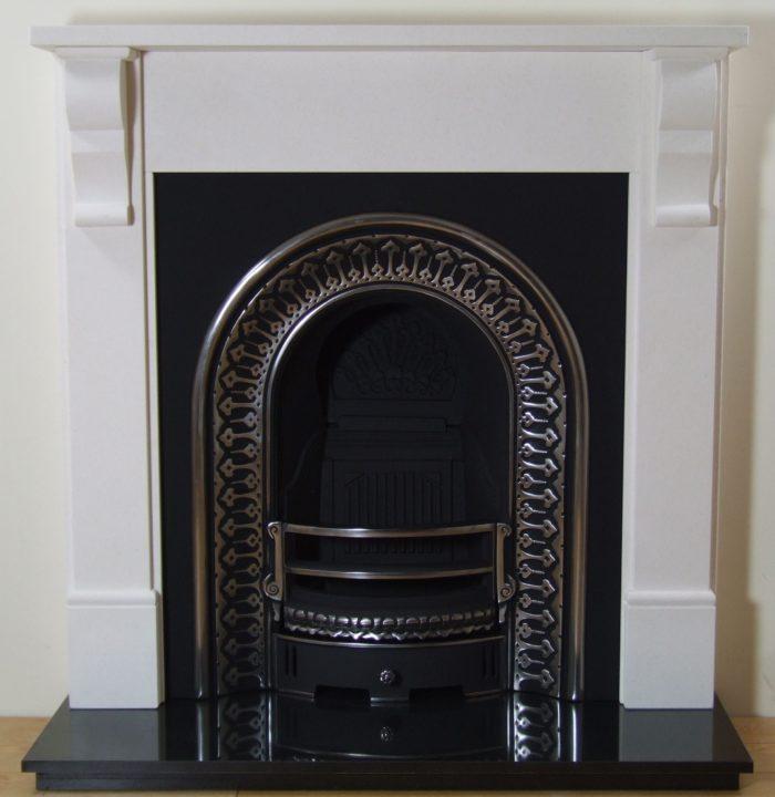 Regal and Corbel Limestone Fireplace-0