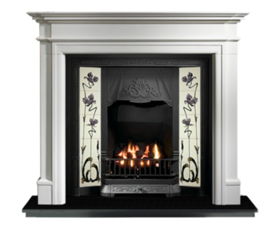 Any Black Tiled Insert and Bartello Limestone Fireplace-0