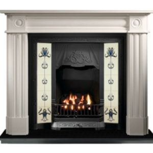 Any Black Tiled Insert and Roundel Limestone Fireplace-0