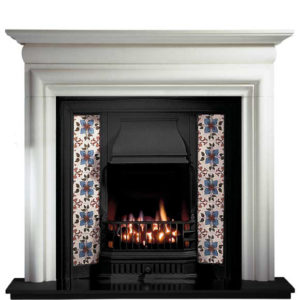 Any Black Insert and Asquith Limestone Fireplace-0