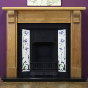 Any Black Tiled Insert and Oak Bedford Wooden Fireplace-0