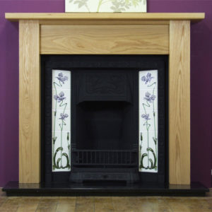 Any Black Tiled Insert and Oak Lincoln Wooden Fireplace-0