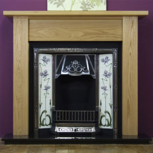 Any Highlighted Tiled Insert and Oak Lincoln Wooden Fireplace-0