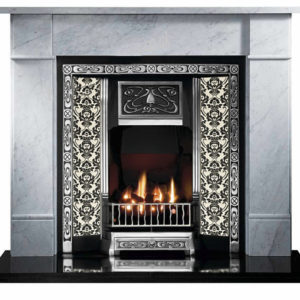 Highlighted Tiled Fireplace and Flat Victorian Marble Fireplace-0