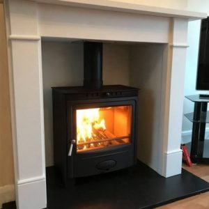 Hamlet Solution 5 Widescreen Stove Suite Brompton Limestone Mantel-0