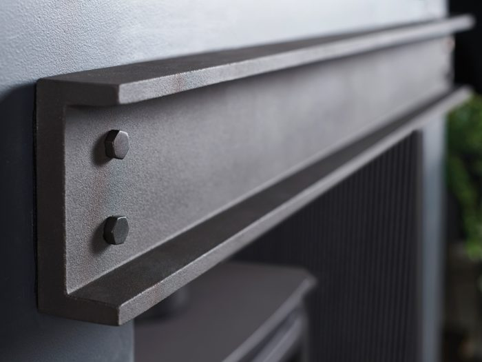 Geocast Contemporary Stove Grey Steel Beam-4315